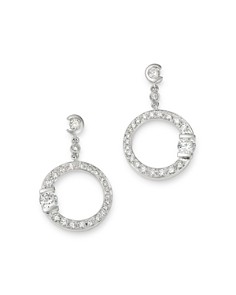 Roberto Coin - 18K White Gold Small Pavé Diamond Signature Drop Earrings